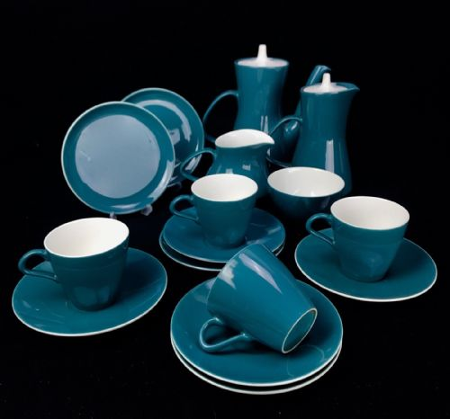 Poole Pottery Tea Set / Coffee Set For 4 / Tea Pot /Cup Trio / Twintone Vintage